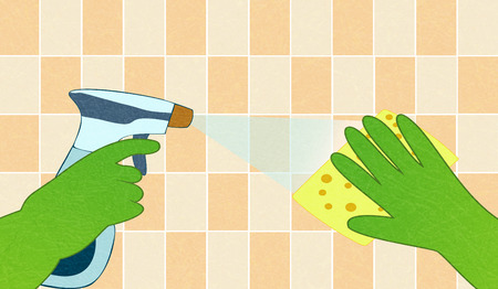 Spring cleaning, hands in green gloves with spray and sponge wash the yellow wall tiles. Flat vector illustration with noise and texture, marble textured background.