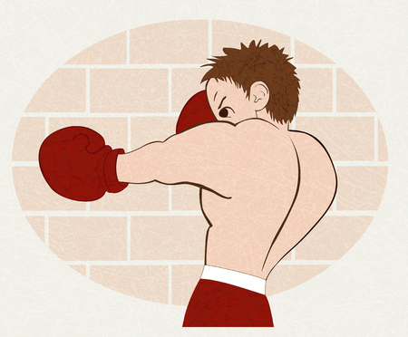 Young boxer in  red shorts trained against a brick wall. Isolated illustration for emblem, label, badge, flyer, leaflet. Horizontal. Vector with noise and texture, marble textured background.