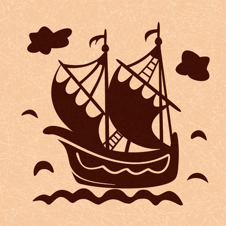 Vintage sailboat floating on waves on light marbled background, ship in sea. Pattern in style of Dutch tiles. Vector with noise and texture, marble textured backdrop. Фото со стока - 126701346