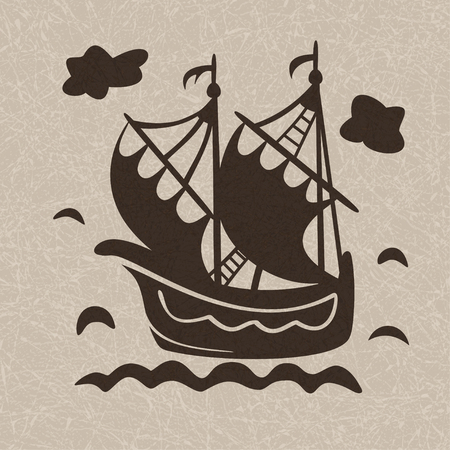 Vintage sailboat floating on waves on light marbled background, ship in sea. Pattern in style of Dutch tiles. Vector with noise and texture, marble textured backdrop.