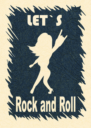 Let`s rock and roll (rocknroll). Illustration showing the silhouette of the fan. Stylish template for slogan, poster, flyer, etc. Vector with noise and texture, marble textured backdrop. Vertical.