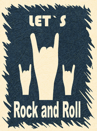 Let`s Rock and Roll. Rock-n-roll hand gesture, horn. Rock festival poster. Stylish template for slogan, poster, flyer. Vector with noise and texture, marble textured backdrop. Vertical orientation. Standard-Bild - 119220854