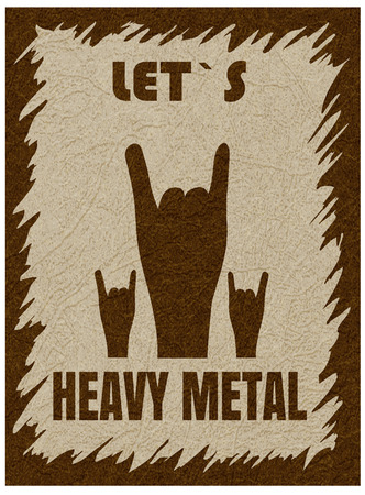 Let`s heavy metal. Rock-n-roll  hand gesture, horn. Rock festival poster. Stylish template for slogan, poster, flyer. Vector with noise and texture, marble textured backdrop. Vertical orientation. Illustration