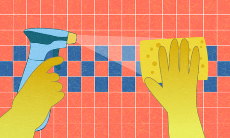 Spring cleaning, hands in yellow  gloves with spray and sponge wash the red wall tiles. Flat vector illustration with noise and texture, marble textured background.