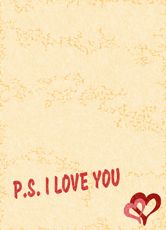 Text P.S. I LOVE YOU on textured yellow background. Greeting card with space for your text and other design elements. Romantic concept, Valentine s Day. Vector with noise and texture, marble backdrop. Фото со стока - 126223612