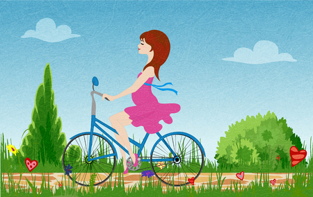 Pregnant young woman riding bike on spring flowering field. Cobbled path through blooming  meadow. Sunny summer composition. Symbolizing joy, serenity and happiness. Vector with noise and texture.