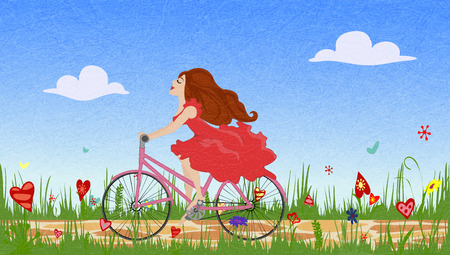 Beautiful young girl in red dress riding bike on spring flowering field. Cobbled path through blooming  meadow. Sunny summer composition, joy, serenity and happiness. Vector with noise and texture.