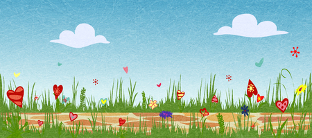 Floral spring arrangement from hearts. Cobbled path through blooming flower field. Sunny summer composition. Vector illustration symbolizing joy, love and happiness. Vector with noise and texture. Ilustrace