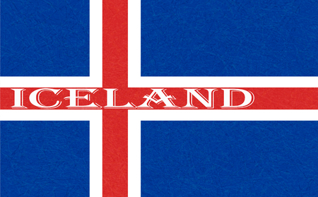 Iceland flag. Icelandic banner with scratched texture, grunge. Flat style, vector illustration with noise, marble textured background. Horizontal orientation. Illustration