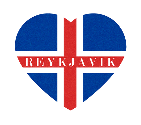 Reykjavik, textured background of Iceland flag in heart. Isolated Icelandic banner with scratched texture, grunge. Flat style, vector illustration with noise, marble backdrop.