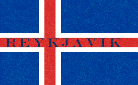 Reykjavik on textured background of Iceland flag. Flat style, vector illustration with noise, marble scratched backdrop. Grunge texture. Horizontal orientation.