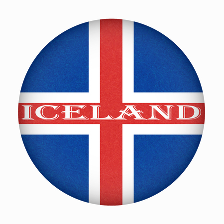 Iceland flag in circle shape. Isolated button of icelandic banner with scratched texture, grunge. Flat style, vector illustration with noise, marble textured background. Horizontal orientation. Illustration