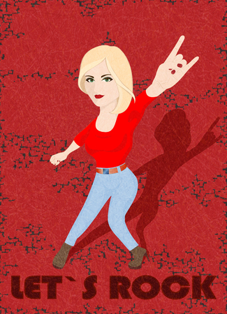 Let`s rock. Blonde rocker girl doing rock sign on red background with scratched texture, grunge. Flat style, vector illustration with noise, marble textured backdrop. Vertical orientation. Isolated. Ilustrace
