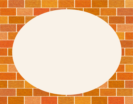 Round frame from brick wall with scratched texture, grunge.  Brickwork of ordinary red bricks. Flat style, vector with noise, marble textured backdrop. Space for your text.