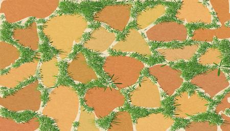 Elemento para el diseño del paisaje, adoquines. Patrón de mampostería con pasto verde. Camino del jardín cubierto de vegetación. Vector con ruido y textura, fondo con textura de mármol. Horizontal.