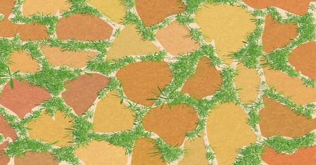 Element for landscape design, paving slabs. Pattern of masonry with green grass. Garden path overgrown with greenery. Vector with noise and texture, marble textured background. Horizontal.