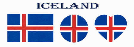 Iceland flag in different shapes. Icelandic banners with scratched texture, grunge.