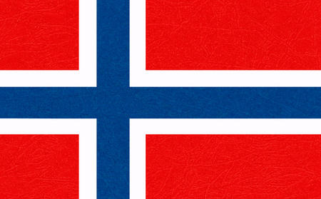 Norway flag, Scandinavian country. Isolated Norwegian banner with scratched texture, grunge. Flat style, vector with noise, marble textured background. Horizontal orientation.