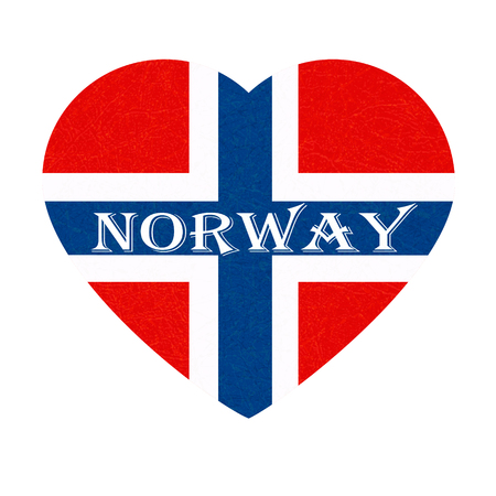 Norway flag in heart shape. Scandinavian country. Isolated Norwegian banner with scratched texture, grunge. Flat style, vector with noise, marble textured background. Square orientation. Ilustrace