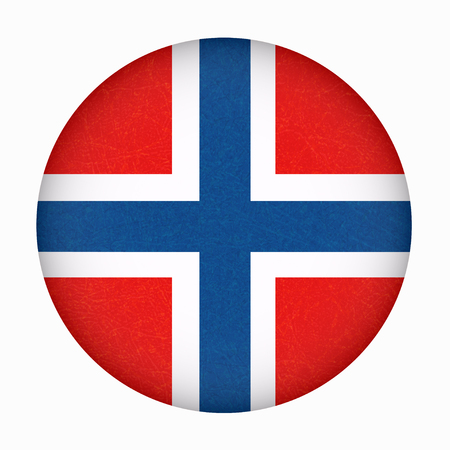 Norway flag in circle shape. Scandinavian country. Isolated button of Norwegian banner with scratched texture, grunge. Flat style, vector with noise, marble textured background. Square orientation.