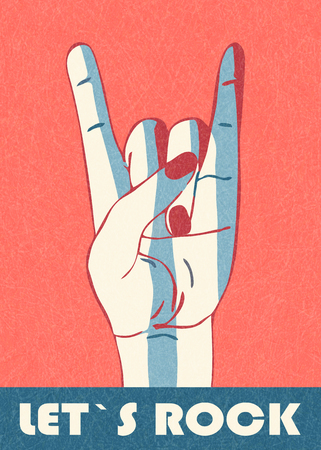 Rock hand gesture, horn. Let`s rock. Stylish template for banner, poster, flier. Isolated on red background with scratched texture, grunge. Vector with noise, marble textured backdrop. Fan of rock.