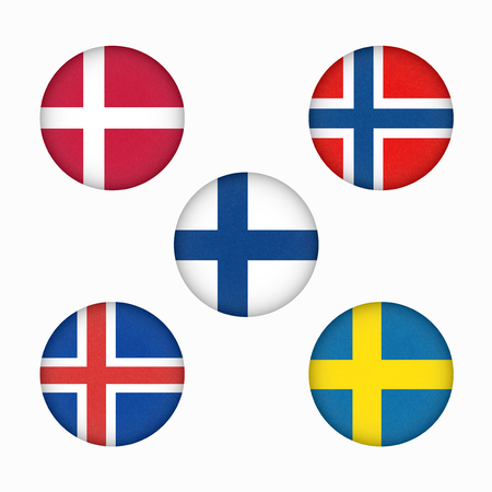 Flags of Scandinavia in circle shape. Scandinavian northern states. Isolated  button with scratched texture, grunge. Illustration with marble textured background. Nordic countries banners icons.