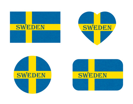 Sweden flag in different shapes, Scandinavian country. Swedish banners with scratched texture, grunge. Illustration with noise, marble textured background. Horizontal orientation. Isolated.