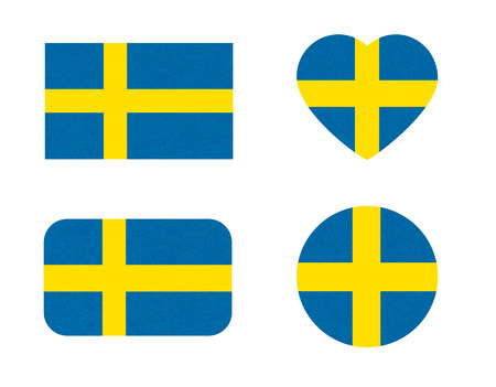 Sweden flag in different shapes, Stockholm. Scandinavian country. Swedish banners with scratched texture, grunge. Illustration with noise, marble textured background. Horizontal orientation. Isolated.