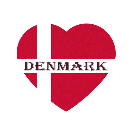 Flag of Denmark in heart shape, Scandinavian northern country. Isolated Danish banner with scratched texture, grunge. Flat style, vector with noise, marble textured background. Square orientation. Ilustrace