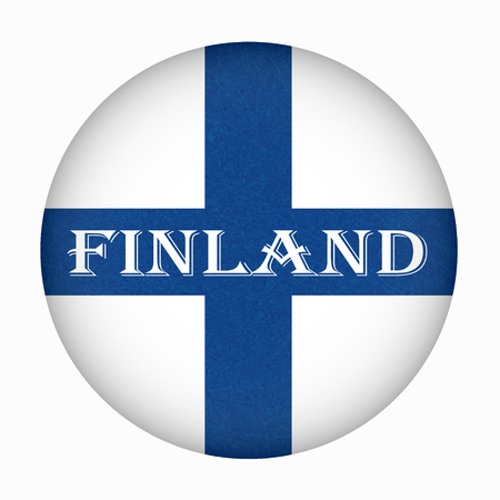 Flag of Finland in circle shape, Helsinki. Scandinavian northern country. Isolated Finnish banner with scratched texture, grunge. Flat style, vector with noise, marble textured background. Square. Ilustrace
