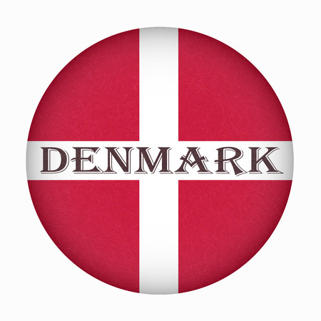 Flag of Denmark in circle shape, Scandinavian northern country. Isolated Danish banner with scratched texture, grunge. Flat style, vector with noise, marble textured background. Square orientation. Ilustrace