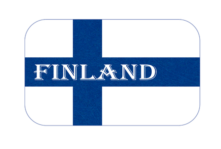 Flag of Finland. Scandinavian northern country. Isolated Finnish banner with scratched texture, grunge. Flat style, vector with noise, marble textured background. Horizontal orientation.