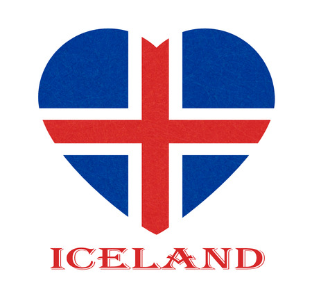 Iceland flag in heart shape. Isolated button of icelandic banner with scratched texture, grunge. Flat style, vector illustration with noise, marble textured background. Horizontal orientation.