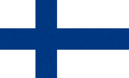 Flag of Finland. Scandinavian northern country. Isolated Finnish banner with scratched texture, grunge. Flat style, vector with noise, marble textured background. Square.