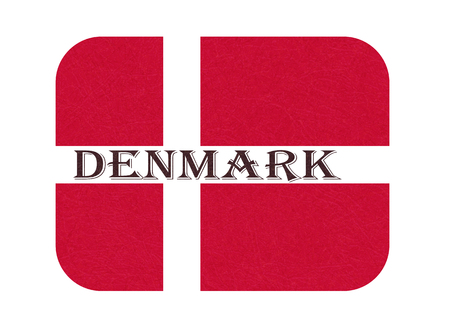 Flag of Denmark, Scandinavian northern country. Isolated Danish banner with scratched texture, grunge. Flat style, vector with noise, marble textured background. Horizontal orientation.  イラスト・ベクター素材