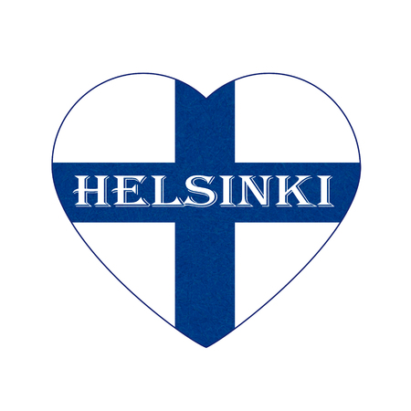 Flag of Finland in heart shape, Helsinki. Scandinavian northern country. Isolated Finnish banner with scratched texture, grunge. Flat style, vector with noise, marble textured background. Square.