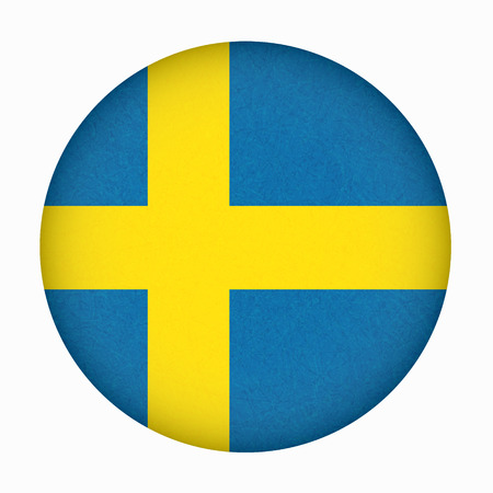 Sweden flag in circle shape, Scandinavian country. Isolated Swedish banner with scratched texture, grunge. Flat style, vector with noise, marble textured background. Square orientation.