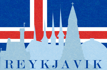 Silhouette of sights of Reykjavik in background of flag of Iceland. Flat style, vector illustration with noise and texture, marble textured backdrop. Horizontal orientation. Ilustrace