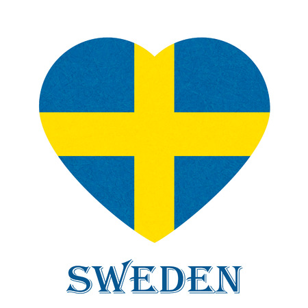 Sweden flag in heart shape, Scandinavian country. Isolated Swedish banner with scratched texture, grunge. Flat style, vector with noise, marble textured background. Square orientation.