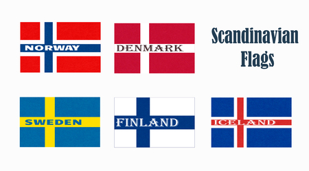 Flags of Scandinavia. Scandinavian northern states. Isolated  button with scratched texture, grunge. Illustration with marble textured background. Nordic countries banners icons.