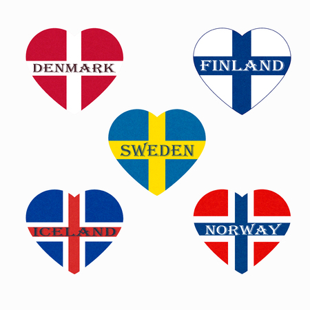 Flags of Scandinavia in heart shape. Scandinavian northern states. Isolated  button with scratched texture, grunge. Illustration with marble textured background. Nordic countries banners icons. 写真素材