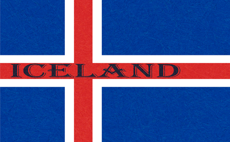 Iceland flag. Icelandic banner with scratched texture, grunge. Flat style, vector illustration with noise, marble textured background. Horizontal orientation. Ilustrace