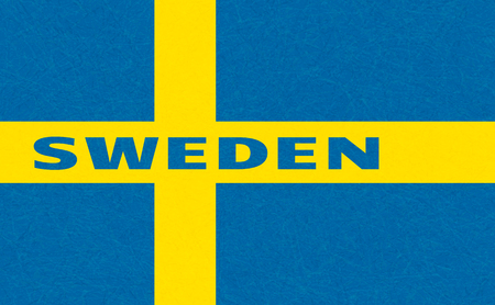 Sweden flag, Scandinavian country. Isolated Swedish banner with scratched texture, grunge. Flat style, vector with noise, marble textured background. Horizontal orientation.