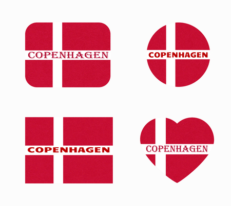 Flag of Denmark in different shapes, Copenhagen.