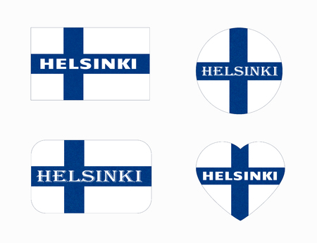 Flag of Finland in different shapes, Helsinki. Scandinavian northern country.