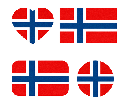 Norway flag in different shapes, Scandinavian country. Фото со стока