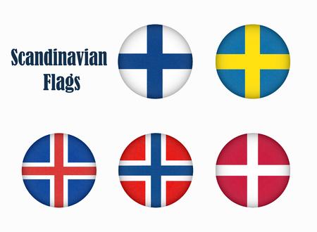Flags of Scandinavia in circle shape. Scandinavian northern states. Фото со стока
