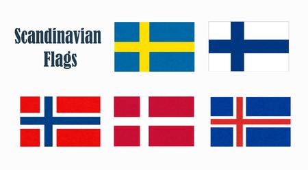 Flaggen von Skandinavien. Skandinavische Nordstaaten. Standard-Bild