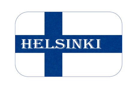 Flag of Finland, Helsinki. Scandinavian northern country. Isolated Finnish banner with scratched texture, grunge. Flat style, vector with noise, marble textured background. Horizontal orientation. Ilustrace