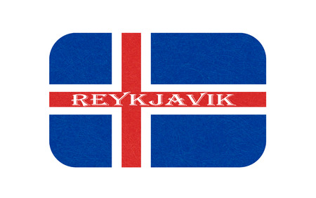 Iceland flag, Reykjavik. Isolated icon of icelandic banner with scratched texture, grunge. Scandinavian northern country. Vector illustration with noise, marble textured background. Horizontal.
